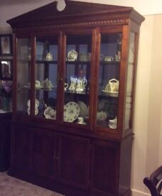 Lovely Large Wooden Display Cabinet base and glass top mirrored