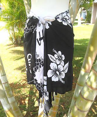 Hawaiian Sarong Short Black & White Hibiscus Pareo Beach Pool Cruise Wrap Skirt](White Hibiscus)