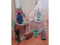 DISNEY FROZEN ICE CASTLE PALACE WITH DOLLS ANNA ELSA KRISTOFF SVEN SINGING OLAF AND FURNITURE