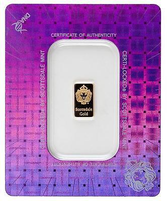 1 gram Scottsdale Mint .9999 Gold Bar - Sealed in Certi-Lock COA #A379