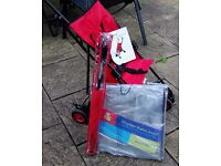 Tesco Folding Pushchair, Red - Including Stroller Raincover and Umbrella