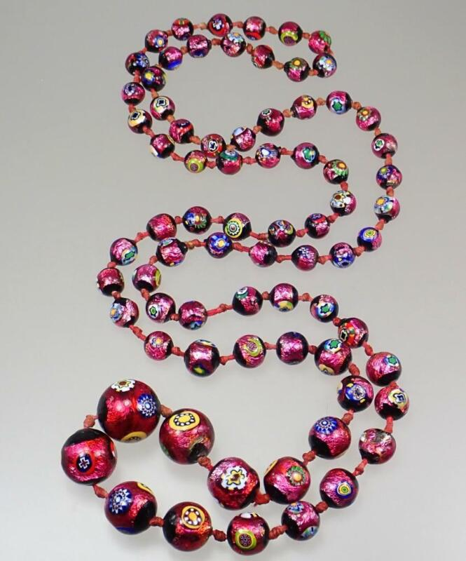 Long Vintage Venetian Murano Fuchsia Pink Floral Eyes Foiled Glass Bead Necklace
