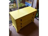 Vintage shabby chic/boho style Annie Sloan English yellow painted 3 drawer oak chest