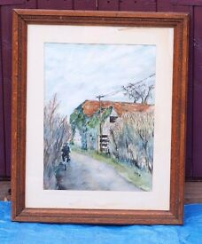 2 Large picture frames including watercolour