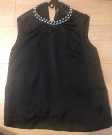 French Connection Silk Pearl Embellished Top (Size 8)