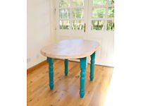 Oval Pine Country Kitchen Dining Table with Natural top and Painted Legs. Seats 4