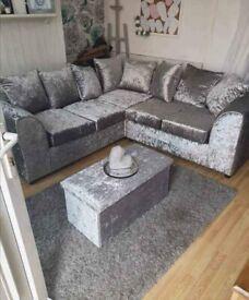 Brand New Dylan Crush Velvet Fabric Corner Sofa