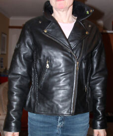 Ladies Leather Biker Jacket in Excellent Condition