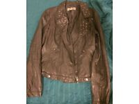 Grey studded leather jacket size 12!