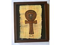 Framed Egyptian Ankh Cross on Papyrus Paper