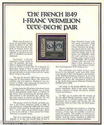 LESOTHO FRANCE 1849 VERMILLION TETE BECHE PAIR COMMEMORATIVE ON GOLD FOIL MINT