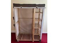DELIVERY INCLUDED - LARGE WOODEN FRAME CLOTH WARDROBE WITH SHELVES