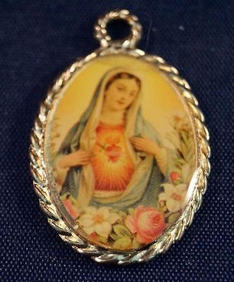 Vintage Religious Plastic Mary Medallion Pendant