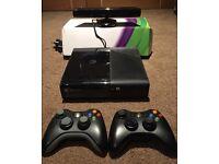 Xbox 360 Slim with Kinect sensor and 18 games