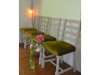 Shabby Chic Farmhouse Rustic Chairs x 4 retro vintage