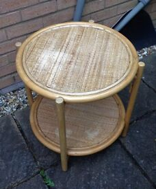 RATTAN AND WOOD SIDE OR COFFEE TABLE