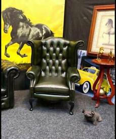 Extreme Rare Chesterfield Thomas Lloyd Queen Anne Wing Back Chair Green Original Luxury Piece As New