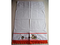* NEW * Cross stitch detailed white/orange edging tea towel from Brazil with original price sticker.