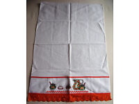 ** NEW ** Cross stitch detailed white tea towel with orange lace detail from Brazil. Happy to post