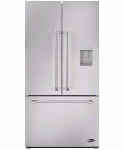 Réfrigérateur à portes françaises en inox 36'', Eau extérieur, DCS