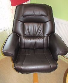 Black Leather adjustable Armchair/Recliner - Brand New - Cost £400