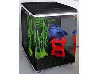 SuperFish Fish Home 8 Mini aquarium with LED lighting Nano black betta tank 8L NEW