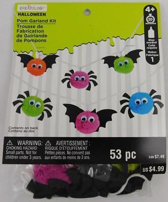 Halloween Pom Garland Kit Creatology Kids Craft New 53 PC Bats