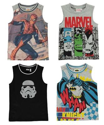 New Boys Character Vest Tank Top Age 3-13 Marvel , Star Wars sleeveless t shirt