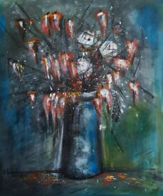 "Modern Art Acrylic on canvas "" Flowers "" oryginal from artist 50x60 cm"