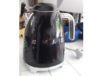 Smeg KLF11BLUK Black Retro 50's style Kettle, and Kenwood chrome toaster