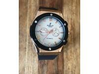Mens hublot automatic watch rose gold n black