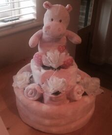 Beautiful baby girls nappy cake