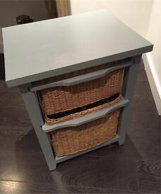 Grey Wicker Bathroom Storage Cabinet