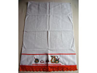 ** NEW ** with price sticker cross stitch/orange lace detailed white tea towel from Brazil.