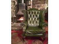Antique green leather chesterfield/button wingback Arm chair