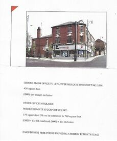 OFFICES TO LET SK 1 STOCKPORT. 3 MONTH RENT FREE PERIOD