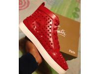Red leather studded Louboutin HiTops Loubs