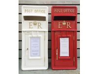 Wedding Royal Mail Post Box FOR HIRE Red White Cream postbox INCLUDES personalized message card WD4