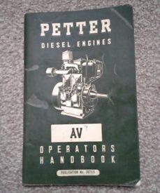 PETTER DIESEL ENGINE AV1 & AV2 OPERATORS MANUAL - 2071/5. £10