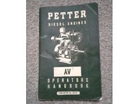 PETTER DIESEL ENGINE AV1 & AV2 OPERATORS MANUAL - 2071/5. £10