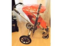 quinny buzz pram ,red with a raincover , in good working order , as in pictures