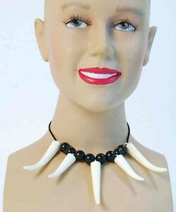 TOOTH teeth NECKLACE Cave Jungle Girl Woman Fancy Dress