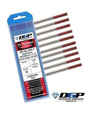 Diamond Ground Tig Weld Tungsten Electrodes 2 Thoriated Red 332x7 10 Pack