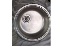 Sink - Small Metal Round 45cm in Diameter and 13 cm Deep, with waste and over flow pipes fitted
