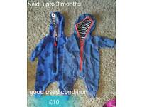 Next 0-3 months old hooded rompers