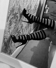 Lace up black heels, size 6