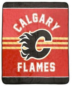 Calgary Flames Luxury Velour High Pile Blanket - Twin Size 60 x 70 Inch [Red]