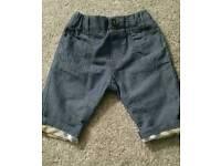 Baby burberry boys lightweight jeans 3mths