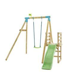 TP Wooden Kids Swing and 6ft Slide Multiplay