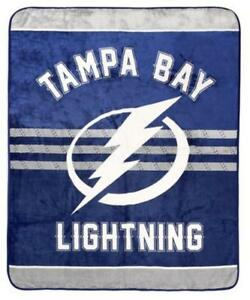 Tampa Bay Lightning Luxury Velour High Pile Blanket - Twin Size 60 x 70 Inch [Blue]